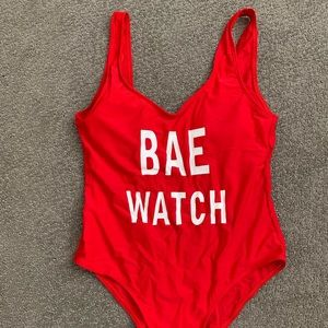 Lifeguard Red BAE WATCH One-Piece Swimsuit